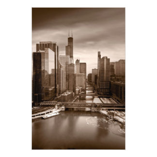 Chicago City View Afternoon BW Photo Art