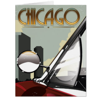 Chicago City vintage auto travel poster Card