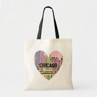 Chicago Cityscape Heart Tote Bag