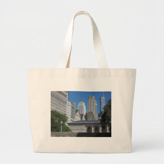 Chicago cityscape large tote bag