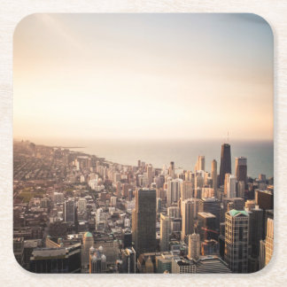 Chicago cityscape square paper coaster