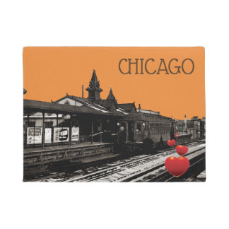 chicago CTA TRain at Station 1950 Vintage Photo Doormat