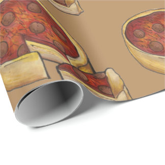 Chicago Deep Dish Pepperoni Pizza Slice Gift Wrap