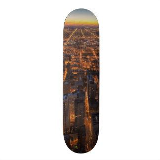 Chicago downtown at sunset skateboards