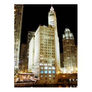 Chicago famous landmark at night postcard