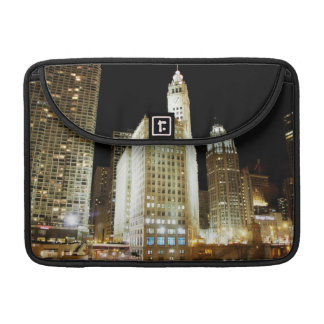 Chicago famous landmark at night sleeve for MacBook pro
