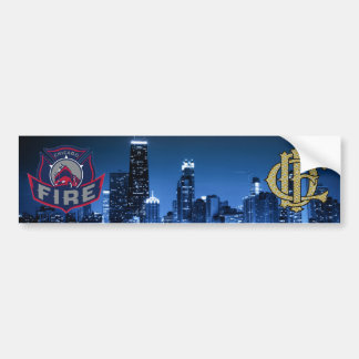Chicago Fire With Skyline Bumper Sticker