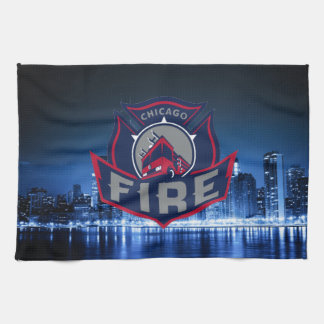 Chicago Fire With Skyline Kitchen Towel