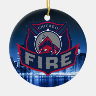 Chicago Fire With Skyline Round Ceramic Ornament