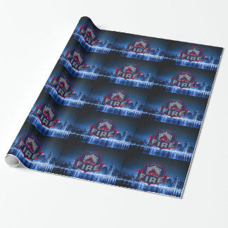Chicago Fire With Skyline Wrapping Paper