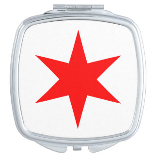 Chicago Flag 6-Pointed Star Mirrors For Makeup