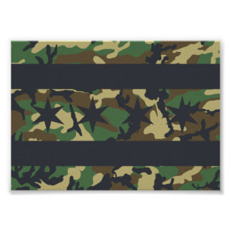 Chicago Flag Camo Design Poster
