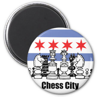Chicago Flag & Chess Board 2 Inch Round Magnet