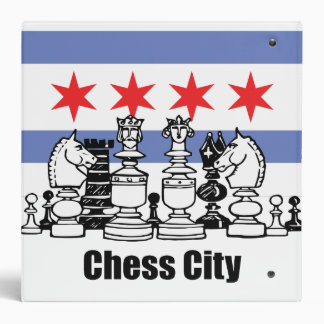 Chicago Flag & Chess Board 3 Ring Binder
