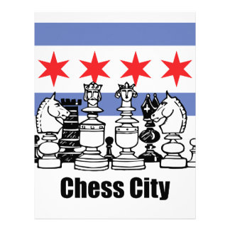Chicago Flag & Chess Board Personalized Letterhead