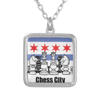 Chicago Flag & Chess Board Silver Plated Necklace
