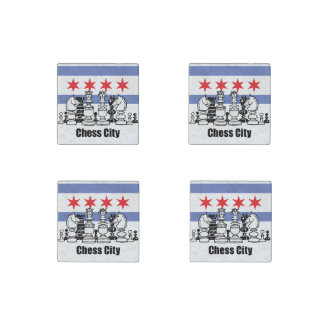 Chicago Flag & Chess Board Stone Magnets