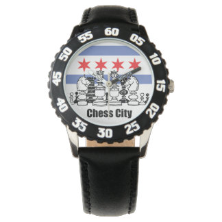 Chicago Flag & Chess Board Watch