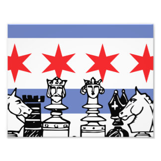 Chicago Flag Chess Photograph