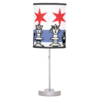 Chicago Flag Chess Table Lamp