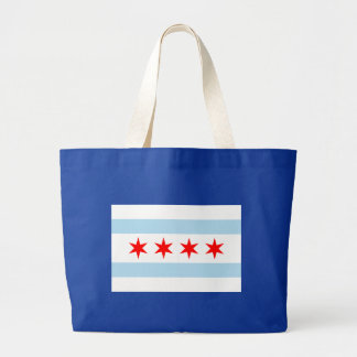Chicago Flag Large Tote Bag