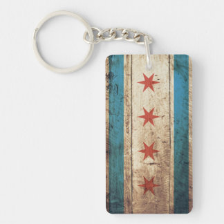 Chicago Flag on Old Wood Grain Keychain