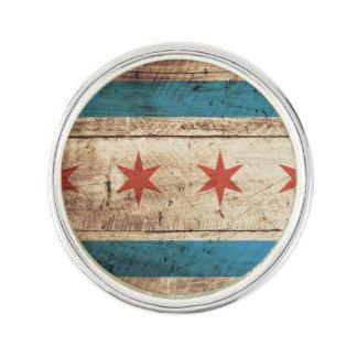 Chicago Flag on Old Wood Grain Lapel Pin