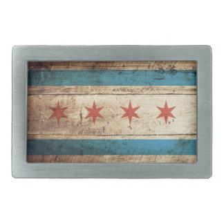 Chicago Flag on Old Wood Grain Rectangular Belt Buckle