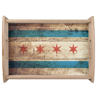 Chicago Flag on Old Wood Grain Serving Tray