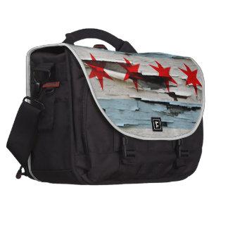 Chicago Flag Paint Peel Laptop Bags