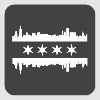 Chicago Flag & Skyline - Black and White Square Sticker