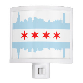 Chicago Flag Skyline Nite Lights