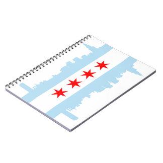 Chicago Flag Skyline Spiral Bound Notebook