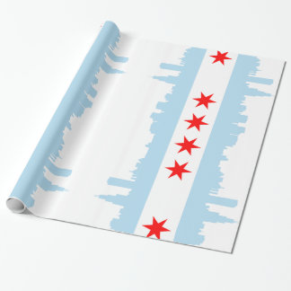 Chicago Flag Skyline Wrapping Paper