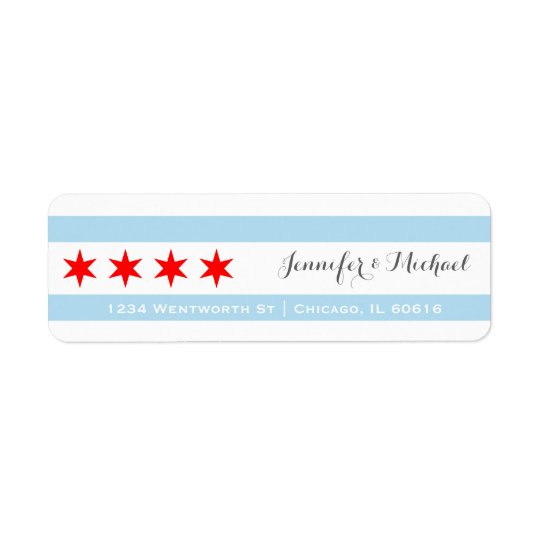 Chicago Flag Template | Red Star | Blue Stripes