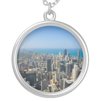 Chicago From Above Silver Plated Necklace