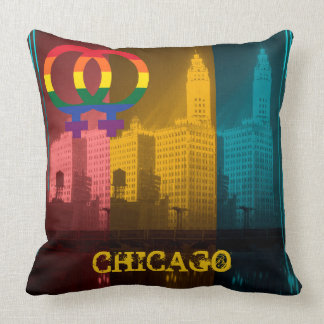 Chicago Gay Lesbian Interest Rainbow Wrigley Bldg Throw Pillow