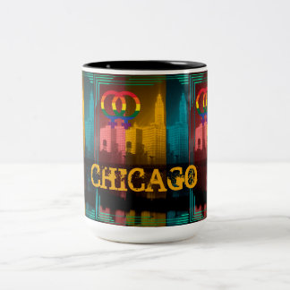 Chicago Gay Lesbian Interest Rainbow Wrigley Bldg Two-Tone Coffee Mug