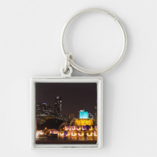Chicago Grant Park Silver-Colored Square Keychain