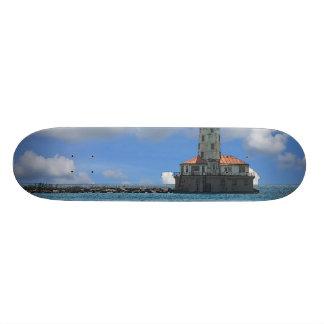 Chicago Harbor Lighthouse Painterly Custom Skateboard