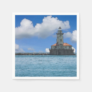 Chicago Harbor Lighthouse Painterly Paper Napkin