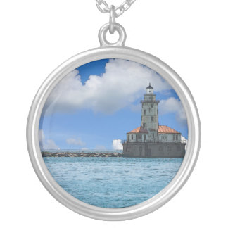 Chicago Harbor Lighthouse Painterly Silver Plated Necklace