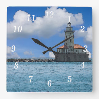 Chicago Harbor Lighthouse Painterly Square Wall Clock