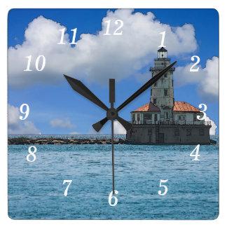 Chicago Harbor Lighthouse Painterly Wallclocks