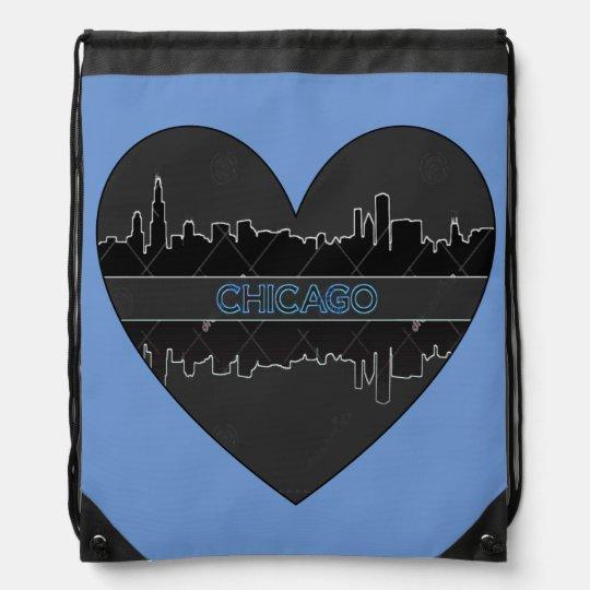 Chicago Heart Drawstring Backpack