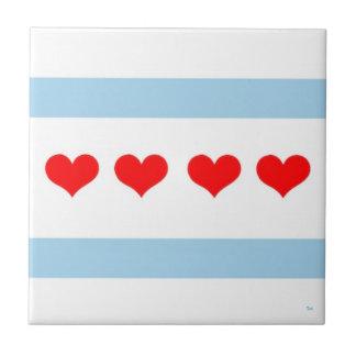 Chicago Heart Flag Tile