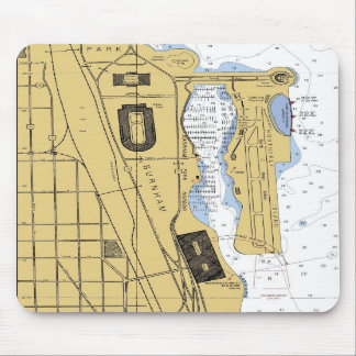 Chicago IL Burnham Park Harbor Chart Mousepad