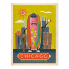 Chicago, IL - Hot Dog Postcard
