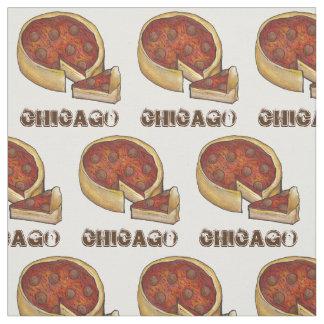 CHICAGO IL Illinois Pepperoni Deep Dish Pizza Food Fabric