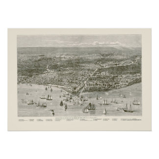 Chicago, IL Panoramic Map - 1871 Poster